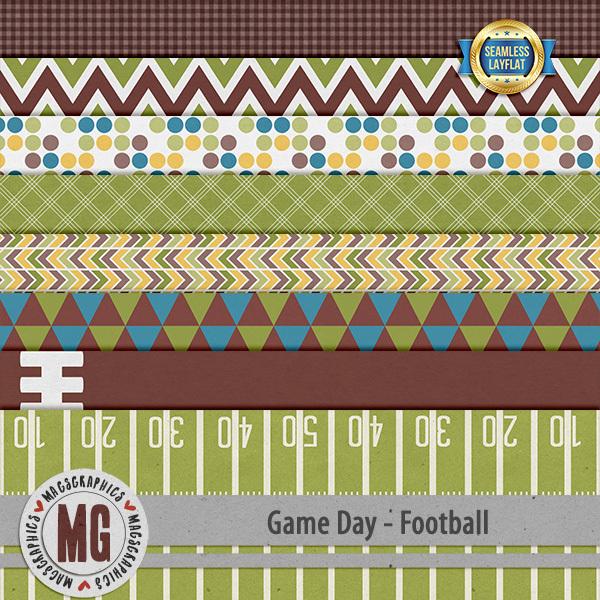 Game Day Football SLF Papers Digital Art - Digital Scrapbooking Kits