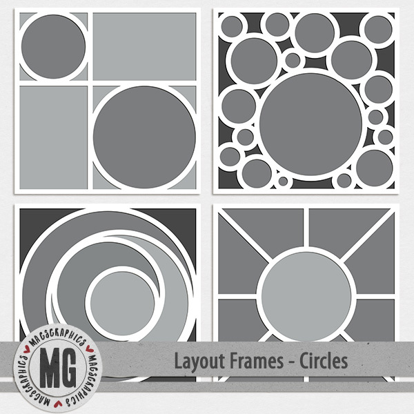 Layout Frames - Circles 12x12 Digital Art - Digital Scrapbooking Kits