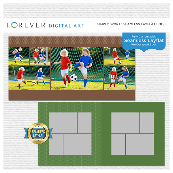 Simply Sport 1 Seamless Layflat Book Digital Art - Digital Scrapbooking Kits