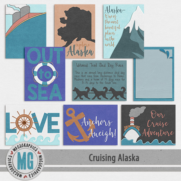 Cruising Alaska Journal Cards Digital Art - Digital Scrapbooking Kits