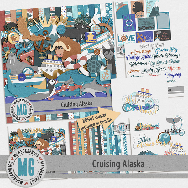 Cruising Alaska Bundle Digital Art - Digital Scrapbooking Kits