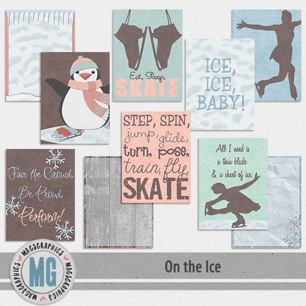 On The Ice Journal Cards Digital Art - Digital Scrapbooking Kits