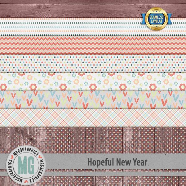 Hopeful New Year SLF Papers Digital Art - Digital Scrapbooking Kits