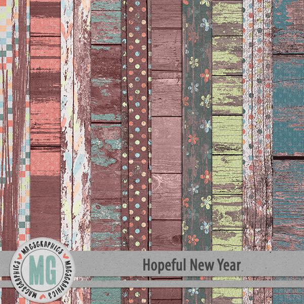 Hopeful New Year Wood Papers Digital Art - Digital Scrapbooking Kits