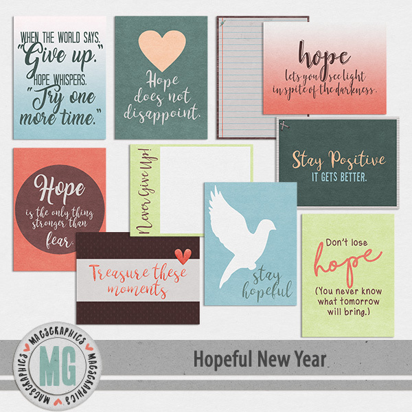 Hopeful New Year Journal Cards Digital Art - Digital Scrapbooking Kits