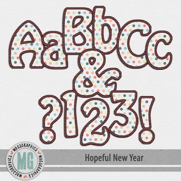 Hopeful New Year Alpha Digital Art - Digital Scrapbooking Kits