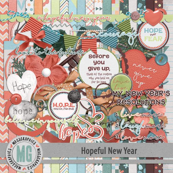 Hopeful New Year Kit Digital Art - Digital Scrapbooking Kits