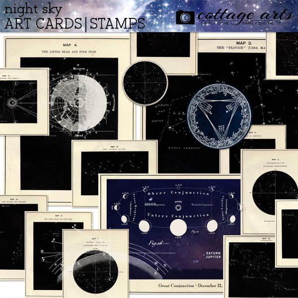 Night Sky Art Cards Digital Art - Digital Scrapbooking Kits