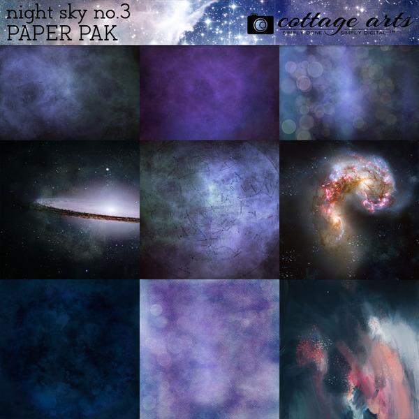 Night Sky Paper Pak 3 Digital Art - Digital Scrapbooking Kits