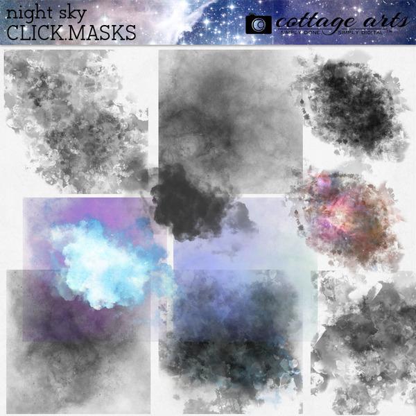 Night Sky Click.Masks Digital Art - Digital Scrapbooking Kits