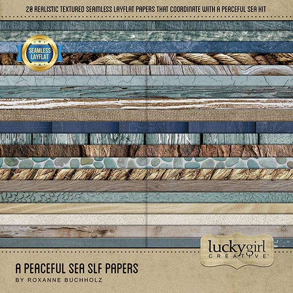 A Peaceful Sea SLF Papers Digital Art - Digital Scrapbooking Kits