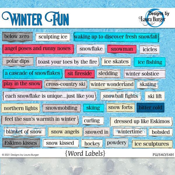 Winter Fun Words Digital Art - Digital Scrapbooking Kits