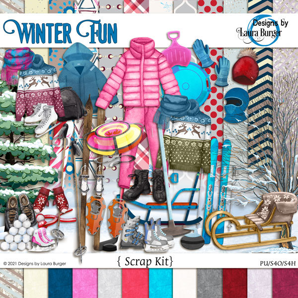 Winter Fun Scrap Kit Digital Art - Digital Scrapbooking Kits
