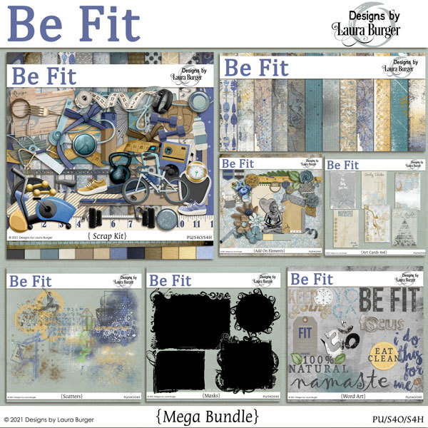 Be Fit Bundle Digital Art - Digital Scrapbooking Kits