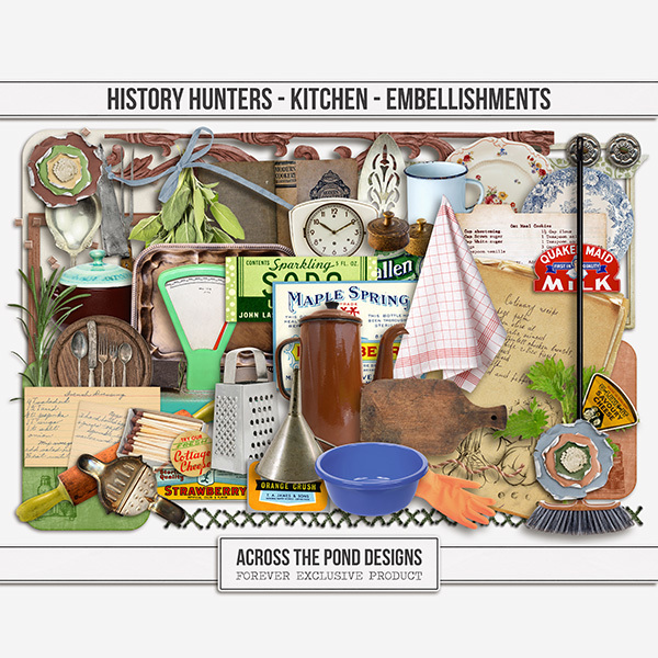 History Hunters - Kitchen Embellishments Digital Art - Digital Scrapbooking Kits