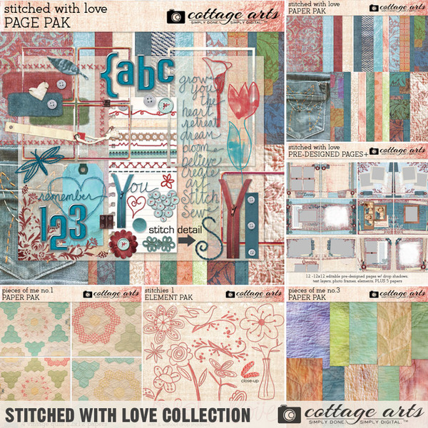 Stitched with Love Collection Digital Art - Digital Scrapbooking Kits