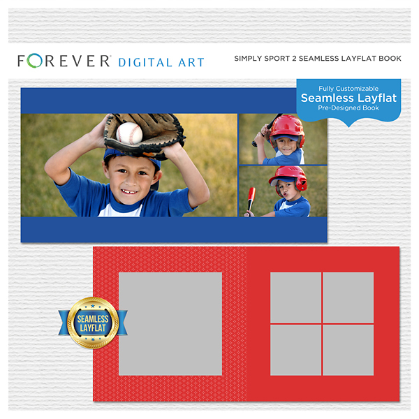 Simply Sport 2 Seamless Layflat Book Digital Art - Digital Scrapbooking Kits