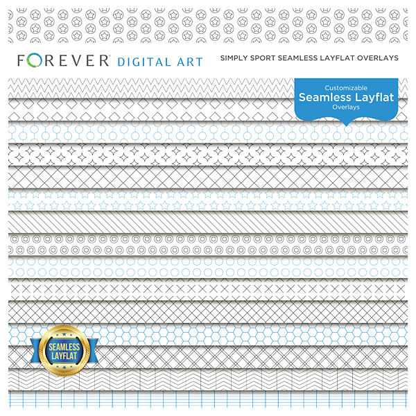 Simply Sport Seamless Layflat Overlays Digital Art - Digital Scrapbooking Kits