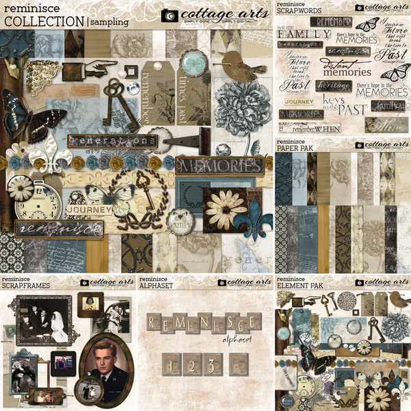 Reminisce Collection Digital Art - Digital Scrapbooking Kits