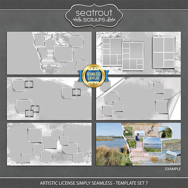 Artistic License Simply Seamless Template Set 7 Digital Art - Digital Scrapbooking Kits