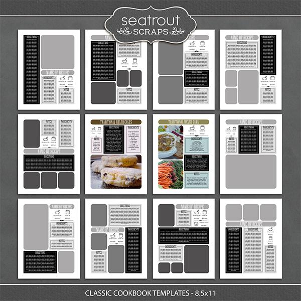 Classic Cookbook Templates - 8.5x11 Digital Art - Digital Scrapbooking Kits