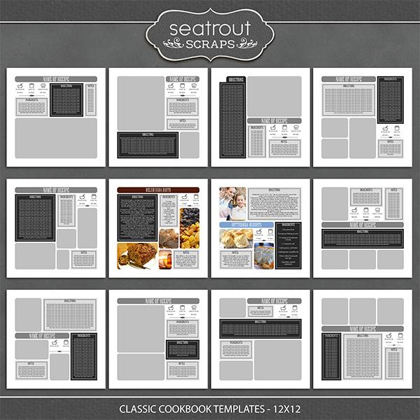 Classic Cookbook Templates - 12x12 Digital Art - Digital Scrapbooking Kits
