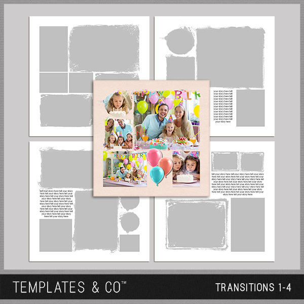 Transitions 1-4 Digital Art - Digital Scrapbooking Kits