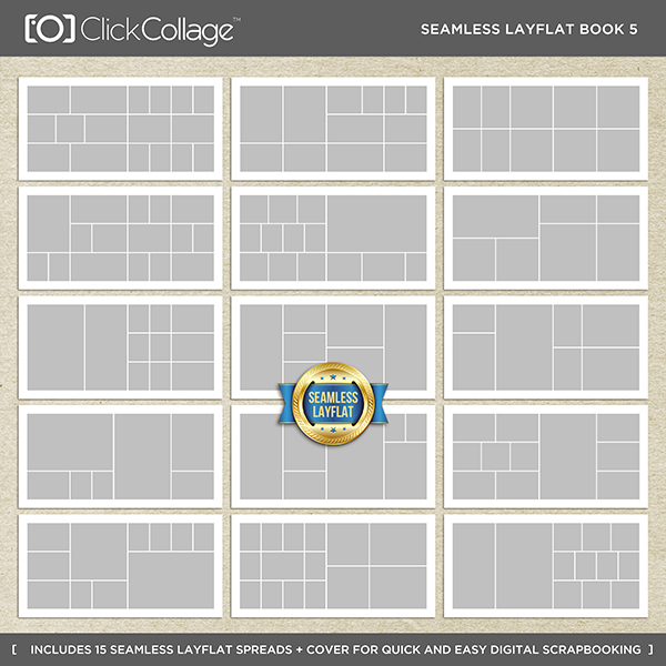Seamless Layflat Book 5 Digital Art - Digital Scrapbooking Kits