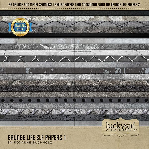 Grunge Life SLF Papers 1 Digital Art - Digital Scrapbooking Kits