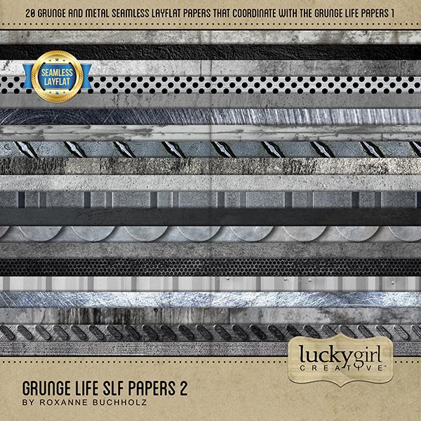 Grunge Life SLF Papers 2 Digital Art - Digital Scrapbooking Kits