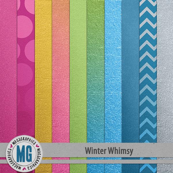 Winter Whimsy Foil Papers Digital Art - Digital Scrapbooking Kits