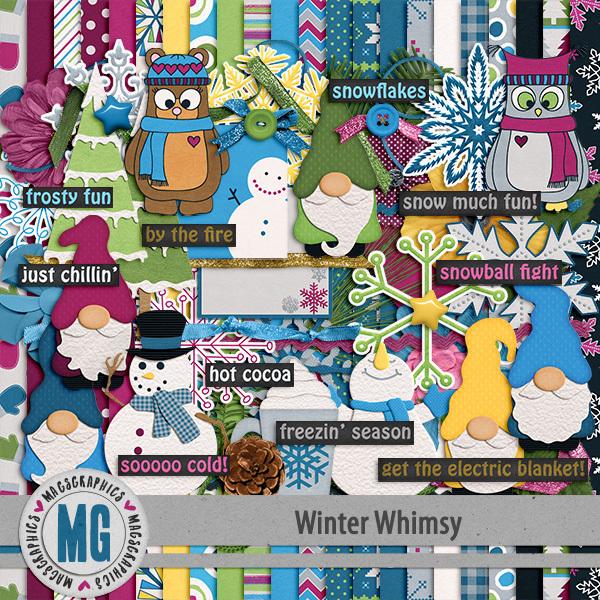 Winter Whimsy Kit Digital Art - Digital Scrapbooking Kits