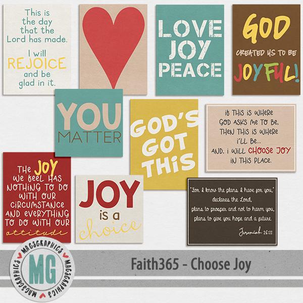 Faith365 Choose Joy Journal Cards Digital Art - Digital Scrapbooking Kits