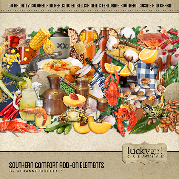 Southern Comfort Add-On Elements Digital Art - Digital Scrapbooking Kits