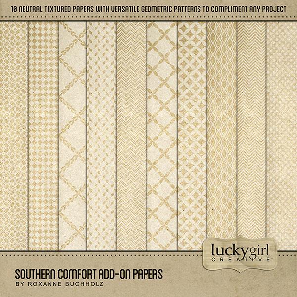 Southern Comfort Add-On Papers Digital Art - Digital Scrapbooking Kits