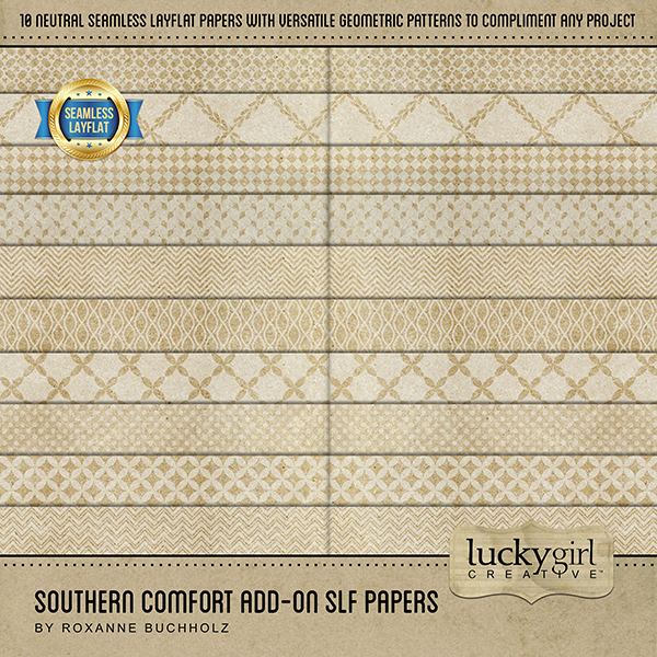 Southern Comfort Add-On SLF Papers Digital Art - Digital Scrapbooking Kits