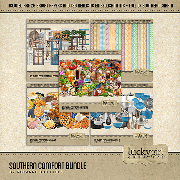 Southern Comfort Bundle Digital Art - Digital Scrapbooking Kits