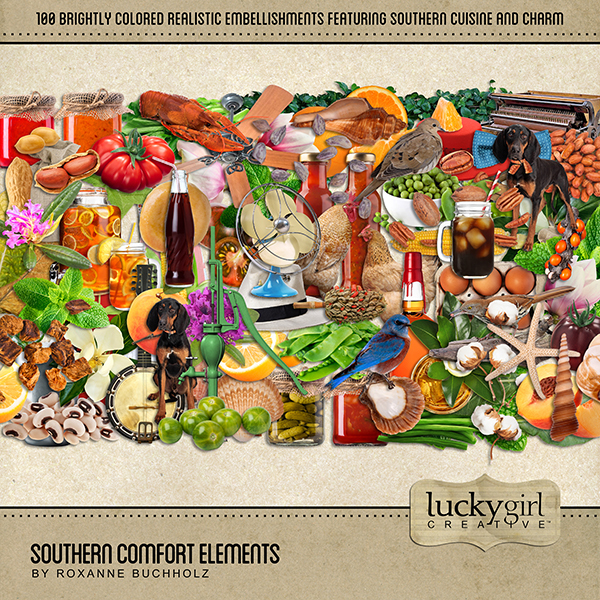 Southern Comfort Elements Digital Art - Digital Scrapbooking Kits