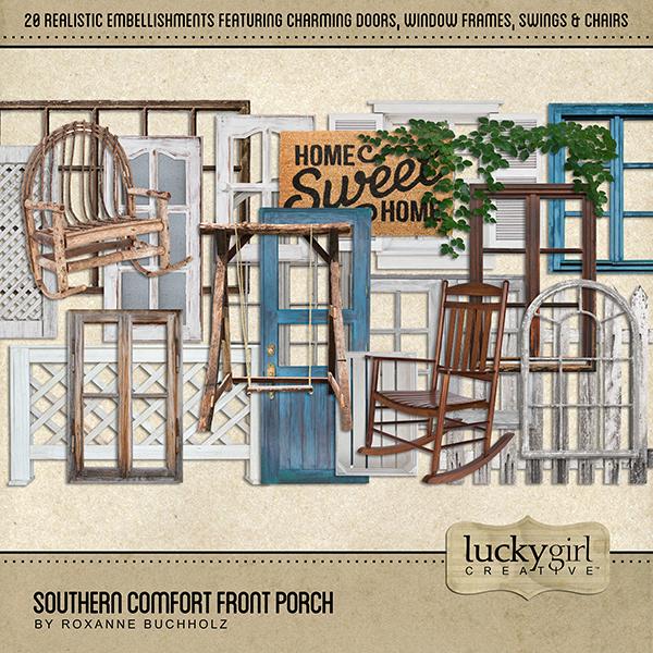 Southern Comfort Front Porch Digital Art - Digital Scrapbooking Kits