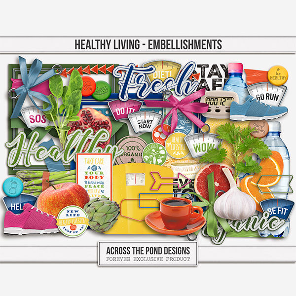 Healthy Living Embellishments Digital Art - Digital Scrapbooking Kits