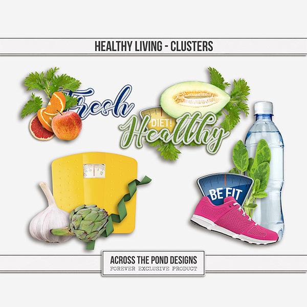 Healthy Living Clusters Digital Art - Digital Scrapbooking Kits