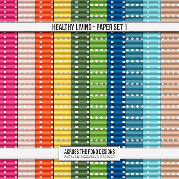 Healthy Living Paper Set 1 Digital Art - Digital Scrapbooking Kits