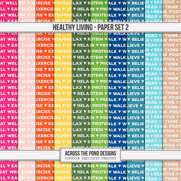 Healthy Living Paper Set 2 Digital Art - Digital Scrapbooking Kits