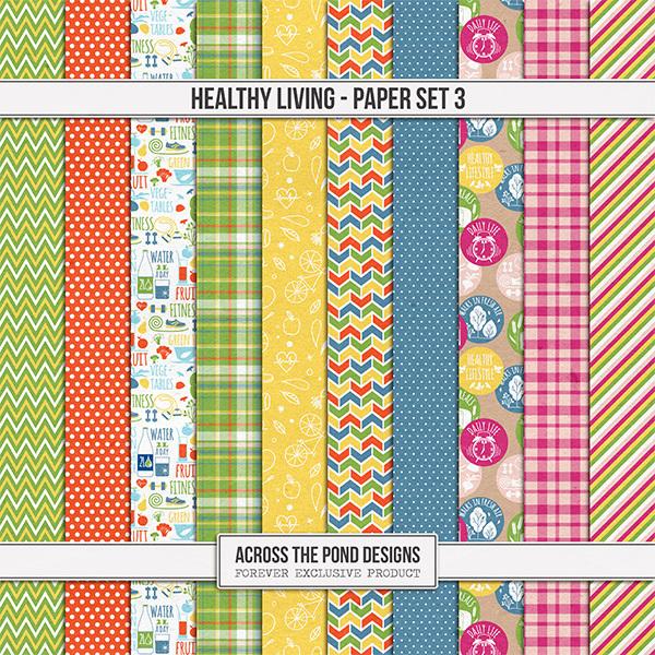 Healthy Living Paper Set 3 Digital Art - Digital Scrapbooking Kits