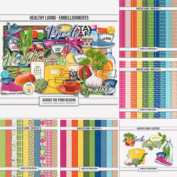 Healthy Living Collection Digital Art - Digital Scrapbooking Kits