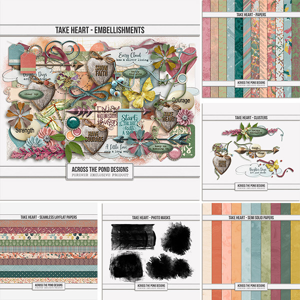 Take Heart Collection Digital Art - Digital Scrapbooking Kits