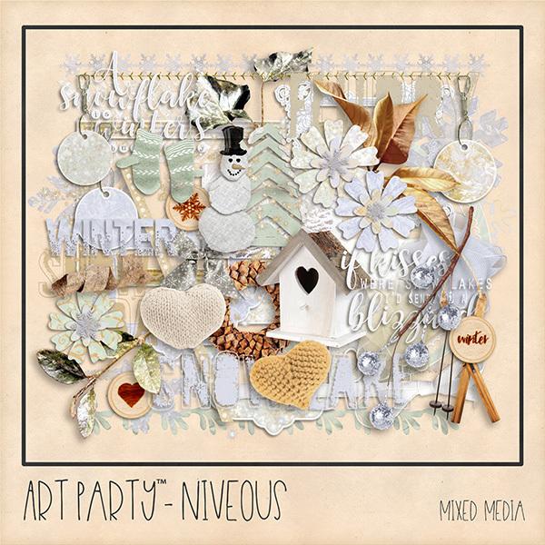 Niveous Mixed Media Embellishments Digital Art - Digital Scrapbooking Kits