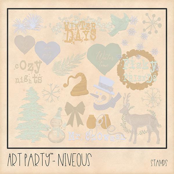 Niveous Stamped Pieces Digital Art - Digital Scrapbooking Kits