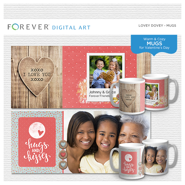 Lovey Dovey Mugs Digital Art - Digital Scrapbooking Kits