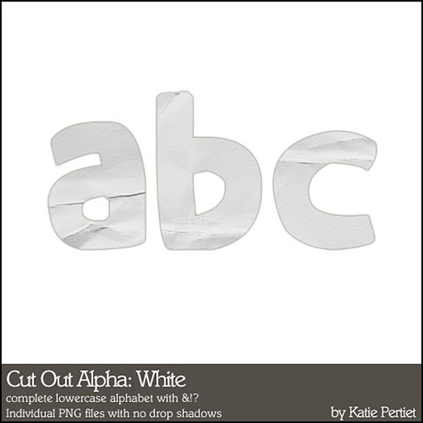 Cut Out Alphabet White Digital Art - Digital Scrapbooking Kits